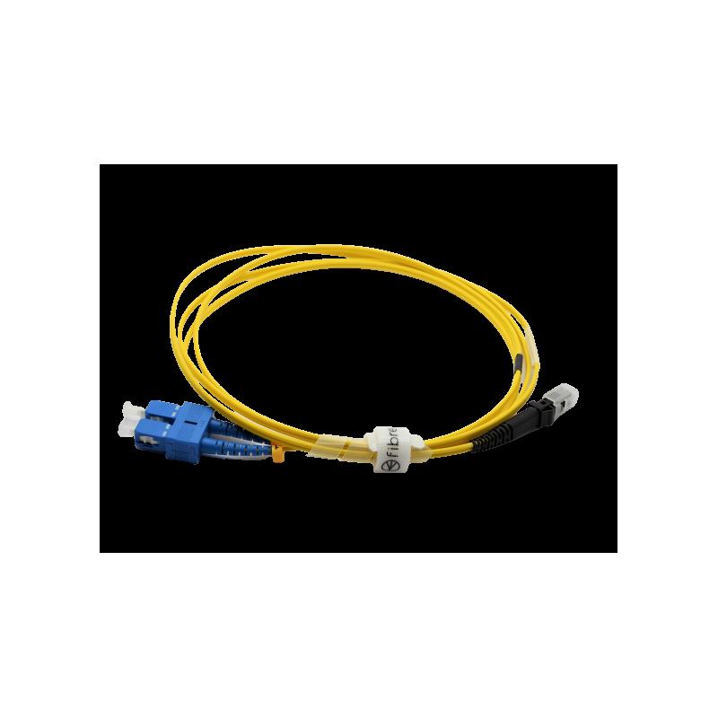 Jarretière optique mono SC/MTRJ duplex Zipp jaune  Cordons mono duplex 15,13€Cordons mono duplex